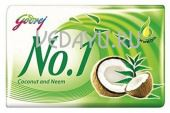 мыло кокос и ним godrej no.1 coconut and neem soap, 115 г. индия
